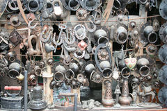 Some used old iron souvenirs. Souvenir shop at Safranbolu Touristic cirty, turkey Stock Photos
