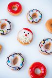 Some various doughnuts on white background. Flay lay royalty free stock photo