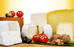 Various types of cheese on white wood. Some Various types of cheese on white wood royalty free stock images