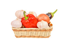 Some vegetables in basket Stock Images