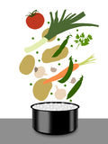 Vegetables soup cooking. Some vegetables falling into the cooker with boiling water to make a soup Stock Illustration