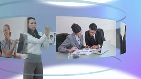 Some videos of business people at desk Royalty Free Stock Photos