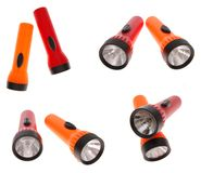 Some views of flash-lights. On white background Royalty Free Stock Photo