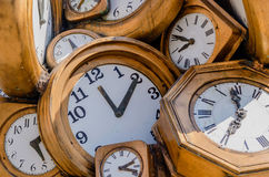 Some vintage clocks. Vintage clocks background. Pass of time concept Royalty Free Stock Image