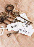 Some vintage keys with motivation words. On sheets of paper Royalty Free Stock Image