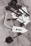 Some vintage keys with motivation words on sheets of paper. Black and white toned Stock Photos