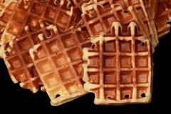Some waffles. Closeup on fresh homemade golden waffles Stock Photos
