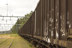 Some wagons of a cargo train Royalty Free Stock Image