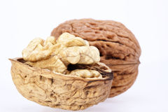 Some walnuts isolated on white background.  Royalty Free Stock Photos