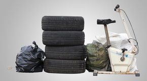 Some waste abandoned on the street. PNG available. Stock Images