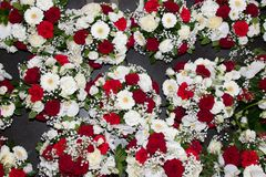 Wedding party bouquet rose red and white for background. Some wedding party bouquet rose red and white for background royalty free stock image