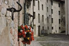 Some windows. Outdoor: view of a historic village Royalty Free Stock Photography
