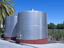 Some wine metallic fermentation tanks Royalty Free Stock Photo