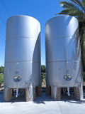 Some wine metallic fermentation tanks Stock Image