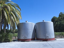Some wine metallic fermentation tanks Stock Photos