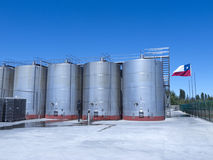 Some wine metallic fermentation tanks Royalty Free Stock Images