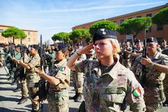Women soldiers of the Italian Army deployed in a barracks during a military parade Royalty Free Stock Photography
