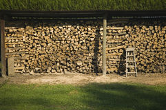 Some wood cut for winter. A well-organized timber storage in anticipation of winter royalty free stock images