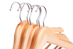 Some wooden hangers in raw isolated Royalty Free Stock Image