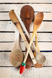 Some wooden spoons. A pile of wooden spoons close up Royalty Free Stock Images