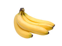 Yellow bananas. Some yellow bananas on a white background royalty free stock image