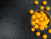Some Yellow Tomatoes on a dark slate slab. Some fresh Yellow Tomatoes on a vintage slate slab, selective focus, close-up shot royalty free stock images