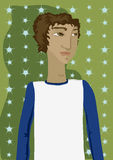 Some Young Guy. Cute trendy young guy in a cool jersey tee - with space to add art or text to tee Stock Illustration