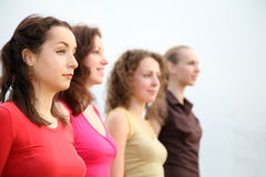 Some young women. Four young women look away Royalty Free Stock Photo
