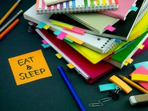 Somebody Left the Message on Your Working Desk; Eat and Sleep Royalty Free Stock Photography