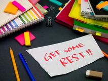 Somebody Left the Message on Your Working Desk; Get Some Rest. (Office royalty free stock photography