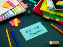 Somebody Left the Message on Your Working Desk; Meeting Tomorrow Royalty Free Stock Photography