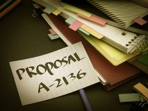Somebody Left the Message on Your Working Desk; Proposal.  stock photography