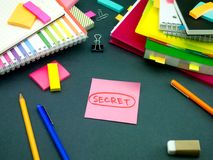 Somebody Left the Message on Your Working Desk; Sectet. Somebody Left Message on Your Working Desk; Sectet Royalty Free Stock Photo