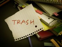 Somebody Left the Message on Your Working Desk; Trash Stock Photography