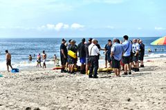 Emergency on beach new york usa drill. Somebody was noticed ,that there is life threatening situation in water of Atlantic ocean on one of the numerous beaches stock images