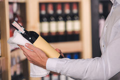 Somellier Wine Business Alcohol Drink Store Concept. Somellier young man holding wine bottle professional Stock Image