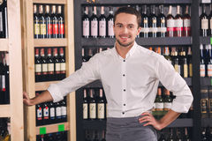 Somellier Wine Business Alcohol Drink Store Concept. Somellier young man standing in a wine store professional Royalty Free Stock Image