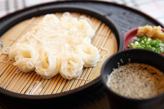 Somen. Fine wheat noodles in close up stock images