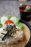 Somen, fine wheat noodles. With sauce royalty free stock images