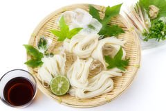 Somen - Japanese style thin wheat noodles -. On bamboo colander stock photography