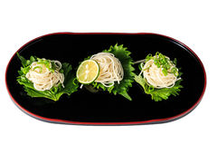 Somen - Japanese style thin wheat noodles. On the Japanese lacquerware stock photos