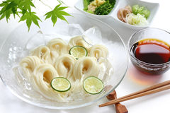 Somen, japanese summer food. Fine wheat noodles dish on a white background Royalty Free Stock Photography