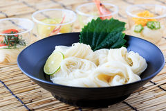 Somen, Japanese thin wheat noodles Royalty Free Stock Images