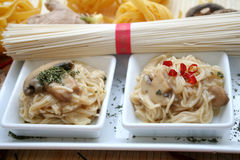 Somen Noodles. An Asian delicacy called Somen noodles, served in two bowls Royalty Free Stock Photography