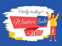 Somente hoje ilustração do vetor da venda -30 do inverno Fotos de Stock Royalty Free