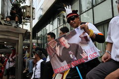 Someone carrying posters Indonesian president Joko Widodo Royalty Free Stock Images