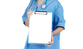 Someone doctor holding blank chart Royalty Free Stock Image