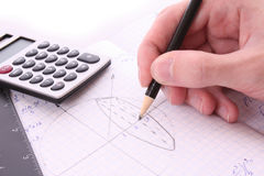Someone doing geometry exercise Royalty Free Stock Images