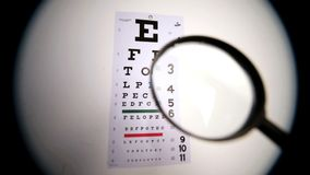 Someone holding magnifying glass up to eye test Stock Photo