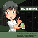 Someone is inviting you to invest with chart background. vector illustration